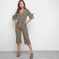 Macacão Lily Fashion Listrado Feminino - Feminino-Bege