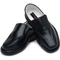 Sapato Masculino Confort Pele Carneiro Palmilha Massageadora Ranster - Masculino-Preto