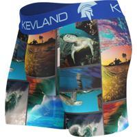 Cueca Kevland Boxer Ondas Azul