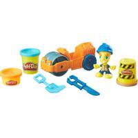 Conjunto Massa De Modelar - Figura E Veículo - Play-Doh Town - Rolo Compressor - Hasbro