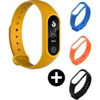 Conjunto Smartband Mafam M2 + 3 Pulseiras- Amarelo