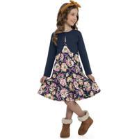 Conjunto Infantil Vestido E Bolero Azul