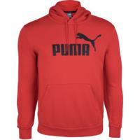 Blusão De Moletom Com Capuz Puma Ess Hoody Fl Big Logo - Masculino - Vermelho