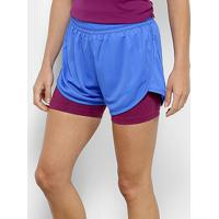 Short Fila Double Training Feminino - Feminino-Azul+Lilás