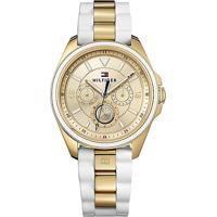 Relógio Tommy Hilfiger Feminino Borracha Branca E Aço Dourado - 178177