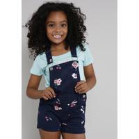 Jardineira De Sarja Infantil Estampada Floral Com Cereja Azul Marinho
