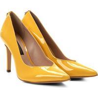 Scarpin Couro Jorge Bischoff Salto Alto Brilho - Feminino-Amarelo