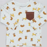 Camiseta Infantil Estampado De Bichos Com Bolso Manga Longa Gola Careca Cinza Mescla Claro