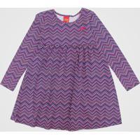 Vestido Kyly Infantil Geométrico Azul-Marinho/Rosa