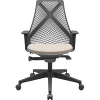 Cadeira Office Bix Tela Preta Assento Poliéster Fendi Autocompensador Base Piramidal 95Cm - 64015 - Sun House