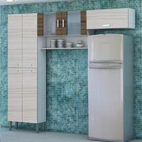 Cozinha Compacta Quartz 7 Portas Branco Com Rovere E Dubai Kit'S Paraná