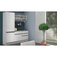 Cozinha Compacta Modulada Completa 3 Módulos 100% Mdf Branco - Glamy