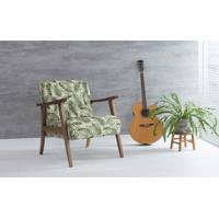 Poltrona Para Sala Acacia Verniz Capuccino Tec.S1865 Folhas Verdes 72X73X85 Cm