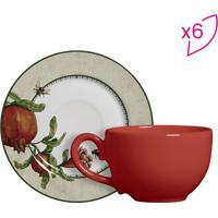 Conjunto De Xícaras De Chá Romã- Vermelha & Bege Claro