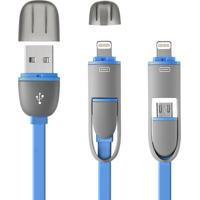 Cabo 2 E 1 Micro Usb E Iphone Azul Multilaser - Wi335