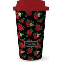 Copo Plástico Grab N' Go Frida Kahlo Red Roses Preto 500 Ml