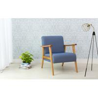Poltrona Decorativa De Madeira Estofada - Poltrona Para Recepção Cor Azul Claro - Verniz Amendoa \ Tec.930 Acacia - 72X72X85 Cm