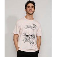 Camiseta Masculina Manga Curta Caveira Com Flores Gola Careca Rosa Claro