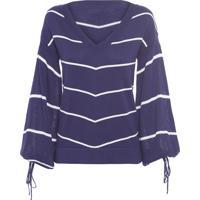 Blusa Feminina Tricô Listrada - Azul