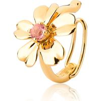 Piercing De Orelha Ouro 18K Flor Com Turmalina Rosa-Coleção Jardim Secreto