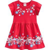 Vestido Texturizado Floral - Rosa & Azul- Primeiros Brandili