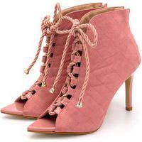 Sapato Scarpin Abotinado Salto Alto Fino Em Napa Rosa Colorido Confort