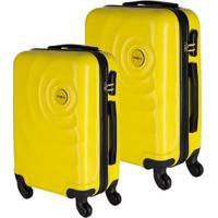 Conjunto De Malas De Viagem Abs Star Yins Brasil Cadeado Embutido Rodas Giro 360º 2 Peças - Masculino-Amarelo