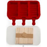 Forma De Picolé Em Silicone Zig Zag 3 Cavidades E 50 Palitos Vermelho