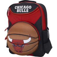 Mochila Nba Chicago Bulls 3D Bola - Infantil - Vermelho/Preto