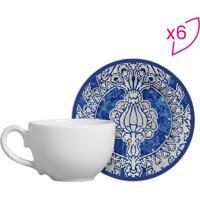 Conjunto De Xícaras De Chá Floral- Azul & Branco- 6Pscalla Cerâmica
