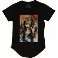 Camiseta Longline Stoned Janis Joplin Masculina - Masculino-Preto