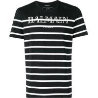 Balmain Striped Logo Print T-Shirt - Preto