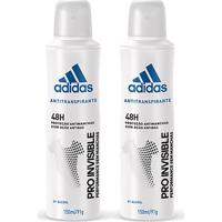 Kit 2 Desodorantes Adidas Invisible Aerossol Masculino 150Ml - Masculino-Incolor