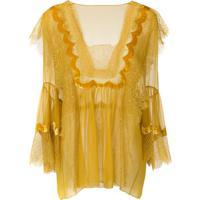 Alberta Ferretti Blusa Com Renda - Amarelo