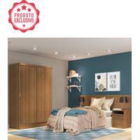 Dormitório Completo Rustic C/ Roupeiro Cabeceira E Criado Mudo Oslo Madesa