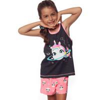Pijama Regata Nadador E Shorts Puket Unicórnio Chumbo E Rosa