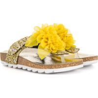 Monnalisa Sandália Com Aplicação Floral E Brilho - Amarelo