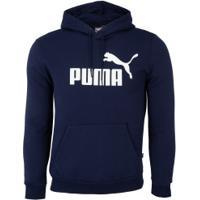 Blusão De Moletom Com Capuz Puma Ess Hoody Fl Big Logo - Masculino - Azul Escuro