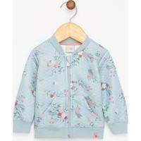 Casaco Infantil Bomber Com Estampa Floral - Tam 0 A 18 Meses