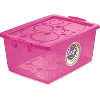 Caixa Organizadora Com Trava- Pink- 18,6X41X22,9Cm