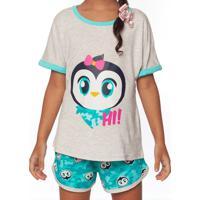 Pijama Patches - Cinza Claro & Verde Águapuket