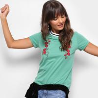 Blusa Drezzup Com Aplicação Gola Bicolor Feminina - Feminino