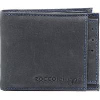 Carteira Couro Masculina Com Porta Cartão - Masculino-Azul