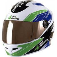 Capacete 4 Racing (+ Viseira Cromada) Verde/Azul | 56 Pro Tork - Cap-377Vdaz