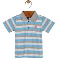 Camisa Polo Listrada Azul Claro