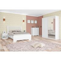 Quarto De Casal Completo Virtual Class Com Espelho Branco 160 Cm