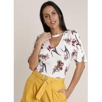 Blusa Feminina Choker Estampada Floral Com Botões Manga Curta Decote Redondo Off White