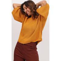 Blusa Em Tricô- Amarelo Escuro- Max Glammmax Glamm
