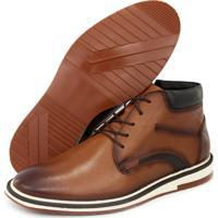 Sapato Casual Masculino Cano Alto Conforto Couro Whisky - Marrom - Masculino - Couro LegãTimo - Dafiti