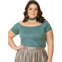 a2aba8e5cb Blusa Decote Ombro A Ombro Verde Miss Masy Plus